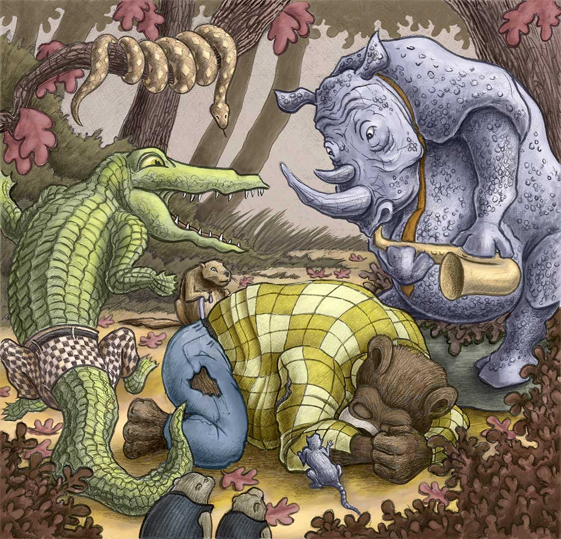 Crowding Around | Gary Potts Illustration